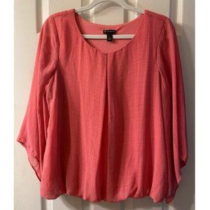 Coral Butterfly Sleeve Blouse Perfect Work Shirt L
